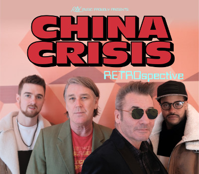 Friday 19th November 2021 8.00pm (Doors 7.30pm)All Tickets £24.75Standing OnlyEddie Lundon and Gary Daly are the founder members of the band which started in Kirkby, Merseyside back in 1979. China Crisis found major success in the UK with five Top 40 singles, ten Top 50 singles and three Top 40 albums and hits across Australia, Europe and the Americas. The band are known for their string of hit singles, including African & White, Christian, Working with Fire and Steel, Black Man Ray and Wishful Thinking, The RETRO spective tour will see the band performing these classics alongside songs from all their seven studio albums.Eddie LundonGary DalyJack Hymers (keys)Eric Animan (sax)All prices advertised include a booking fee. No fees to Friends of the Floral. A postage fee may apply.