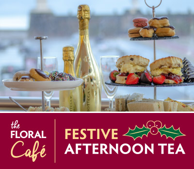Served Daily from 12:00pm to 3:00pm£30.00 for two (£15.00 each)Bring along children under 12 for an additional £10.00 eachAdd Prosecco to make your afternoon even more specialBottega Gold (200ml) - £7.00Bottega Gold (750ml) - £35.00Sant'Orsola (750ml) - £25.00A deliciously 'Festive' way to spend an afternoon this December, take a seat and relax in our Panoramic Lounge and enjoy stunning views across the River Mersey. Indulge in a selection of freshly made finger sandwiches, home-made fruit scones with delicious clotted cream and a selection of dainty cakes and pastries all served with fine selection of teas. Upgrade to a glass of prosecco to add some sparkle!Dietary requirements to be submitted upon bookingCHOICE OF TEASEarl Grey English Breakfast Decaffeinated English Breakfast Herbal & Fruit Teas ChamomileGreenPeppermintRaspberry & Cranberry Lemon & GingerSELECTIONS OF FRESHLY MADE FESTIVE FINGER SANDWICHESOn a selection of white, wholemeal or gluten free bread Turkey, Cranberry & StuffingSmoked Salmon & Cream CheeseEgg & Cress MayonnaiseMature Cheddar & Branston Pickle FESTIVE SAUSAGE ROLLQUICHE LORAINERED PEPPER HOUMOUS & CRUDITESHOMEMADE FRUIT SCONE WITH STRAWBERRY JAM & CLOTTED CREAM SELECTION OF FESTIVE DAINTY CAKES & MINCE PIE PARCEL