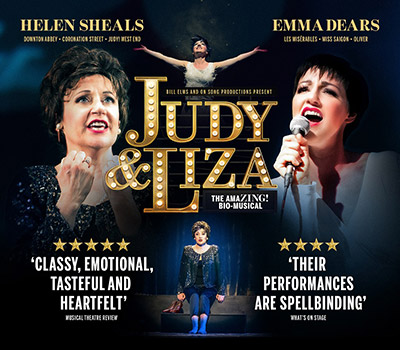 Friday 4th June 2021, 2:30pm & 7:30pmSocially Distanced TicketsGroups of 4, 5 & 6 £22.25 eachGroups of 1, 2 & 3 £26.75 eachJudy Garland and Liza Minnelli are back together again thanks to a sensational musical experience, Judy and Liza. This dazzling production tells the turbulent tale of Hollywoods biggest stars against the backdrop of their infamous 1964 London Palladium concert. West End stars Emma Dears and Helen Sheals belt out their most famous hits with uncanny resemblance, bursting with elusive star quality. Featuring live performances of Cabaret, Maybe This Time, The Trolley Song and The Man That Got Away to name but a few.  The audience are taken on an emotional rollercoaster journey as we discover the uncanny parallels between some of Judy and Liza's most iconic songs and their own personal lives. Spend an evening with the mother and daughter who really did put the 'show' into showbiz.  Produced by Bill Elms Productions and On Song Productions. Created by Emma Dears.All prices advertised include a booking fee. No fees to Friends of the Floral. A postage fee may apply.