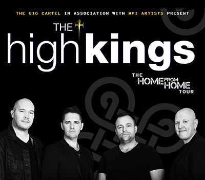 Wednesday 15th June 2022, 7:30pmAll Tickets £26.75The High Kings, the true heirs of Ireland's Folk Heritage, are delighted to announce new UK dates for June 2022. Finbarr Clancy, Darren Holden, Brian Dunphy and newest member Paul O' Brien make up the band and play 13 instruments between them, creating their unique sound and atmosphere in the folk idiom and re-energise great Irish ballads. They have had great success over the years including Best Folk Act at Ireland's Music Awards. Their reputation has grown tremendously and they have had enormous success both within the US and Ireland.The High Kings are charting a new course for Irish ballad music – equal parts rousing and reflective, energetic and insightful – is an understatement. They are, essentially, marking out a new and bright era for Irish folk music. Not to be missed.All prices advertised include a booking fee. No fees to Friends of the Floral. A postage fee may apply.